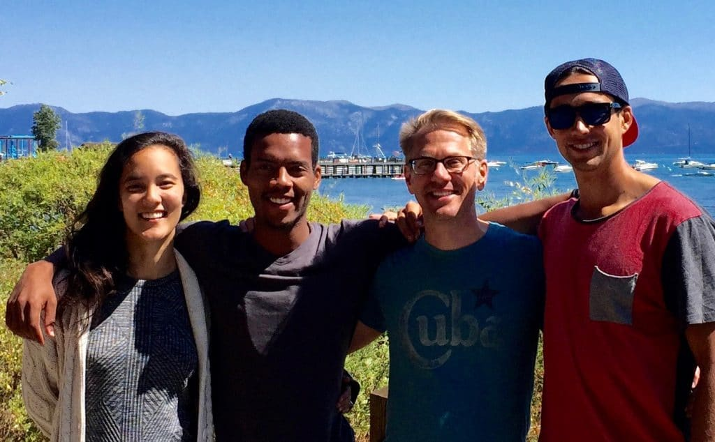 With Madeline Dangerfield-Cho, Vince McPhillip, and Kenny Diekroeger - organizers of the Mindfulness Retreat for first year students from Stanford's Graduate School of Business. At Lake Tahoe!